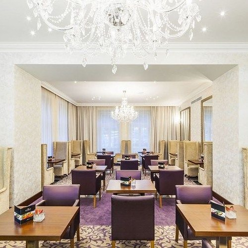 Our crystal chandeliers in a beautiful hotel in Prague.