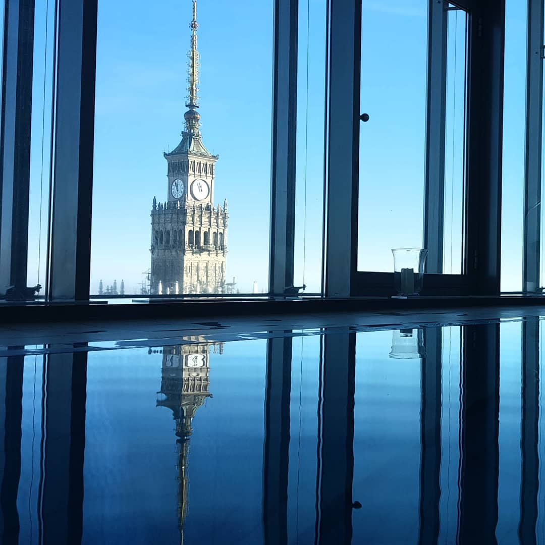 43rd floor swim on a chilly Warsaw afternoon.