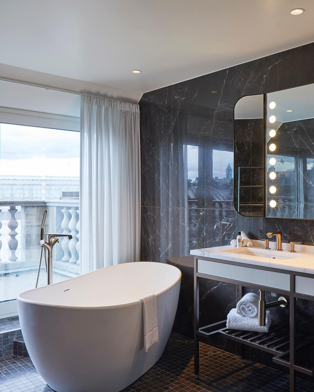 The bathroom view in the Terrace Bank Suit. #bankhotelsto...