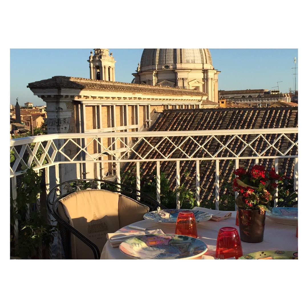At the #rooftopresturant in the #hotelraphaelrome this is...