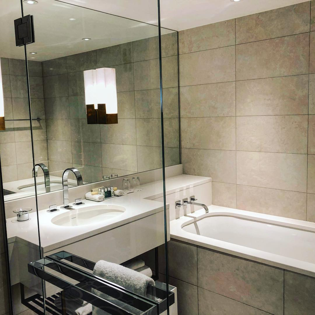 Standard room gets the same simple chic marble bathroom w...